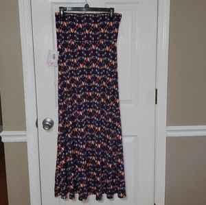 New Lularoe Sz S Stretch Maxi Skirt Navy Blue